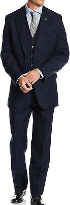 Stacy Adams Mens Suit Navy Blue Size 42 3 Piece Notched Collar Stretch $399 732