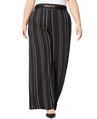 NY Collection Womens Pants Black Size 3X Plus Striped Wide Leg Stretch $54 027