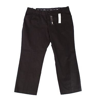 Lee Womens Pants Black Size 16W Plus Petite Eased Fit Trouser Stretch $60 227