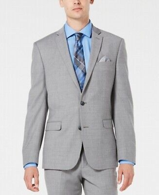 Bar III Mens Blazer Gray Size 34 Slim Fit Two Button Wool Notch-Collar $425 023