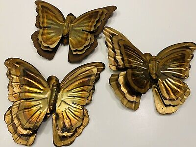 Vintage 12 Metal Brass Colored Butterflys  Decorator Wall Item - Some Rust