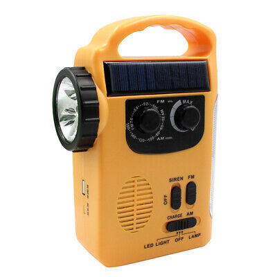 Emergency Solar Hand Crank Weather Radio Power Bank Charger Flash Light Torch