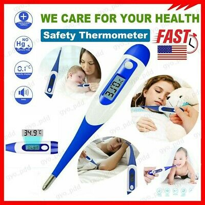 US Digital Soft Type LCD Thermometer Baby Adult Body Safe Ear Mouth Temperature
