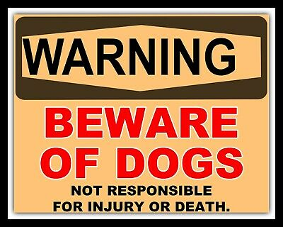 INSRUCTIONAL SIGN.WARNING SIGN. A3 SIZE WARNING DOGS RUNNING FREE  METAL SIGN.