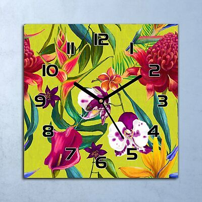 Glass Wall Clock Home Decor Secret Garden Pansies Floral Colourful Flowers Pansy
