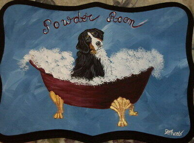 Bernese Mountain Dog Hand Painted Powder Room Bathroom Sign Plaque