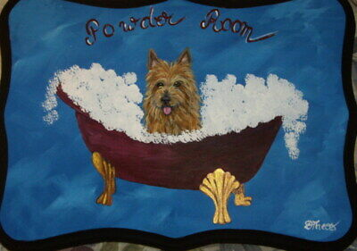 Australian Terrier Dog Hand Painted Powder Room Bathroom Sign Plaque