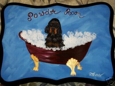Gordon Setter Dog Hand Painted Powder Room Bathroom Sign Plaque