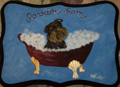 Brussels Griffon Dog Hand Painted Powder Room Bathroom Sign Plaque