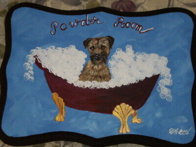 Border Terrier Dog Hand Painted Powder Room Bathroom Sign Plaque