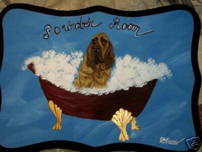 Bloodhound Dog Hand Painted Powder Room Bathroom Sign Plaque