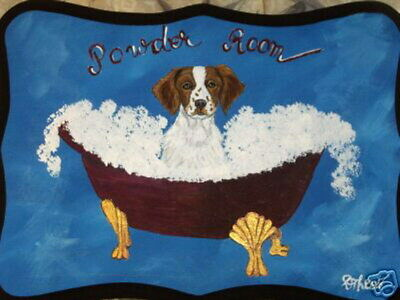 Brittany Spaniel Dog Hand Painted Powder Room Bathroom Sign Plaque