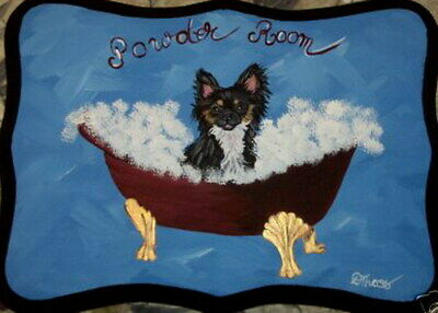 Chihuahua Dog Hand Painted Powder Room Bathroom Sign Plaque