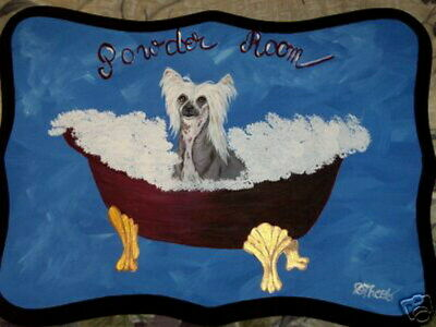 Chinese Crested Dog Hand Painted Powder Room Bathroom Sign Plaque