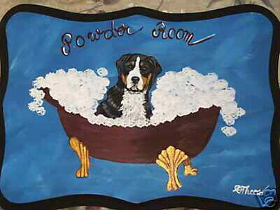 Greater Swiss Mountain Dog Hand Painted Powder Room Bathroom Sign Plaque