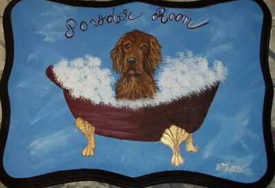 Irish Setter Dog Hand Painted Powder Room Bathroom Sign Plaque