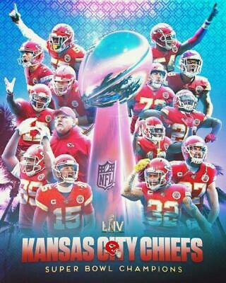 KANSAS CITY CHIEFS Super Bowl LIV Champions Glossy 8 x 10 Photo Poster Mahomes