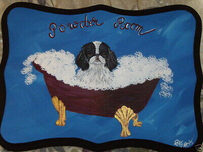 Japanese Chin Black and white Dog Hand Painted Powder Room Bathroom Sign Plaque