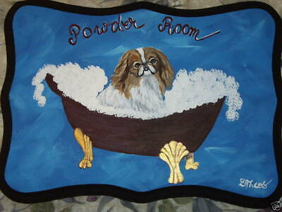 Japanese Chin red and white Dog Hand Painted Powder Room Bathroom Sign Plaque