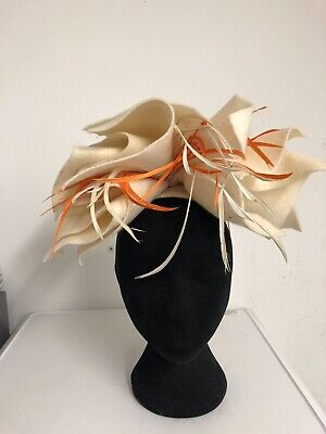 Off White Felt Orange Feathers Fascinator Weddings Christening Ladies Day Ascot