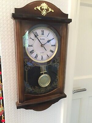 Vintage Style Acctim Quartz Hourly Westminster Chime Wall Clock In Case Pendulum