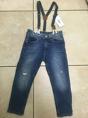 H&M Boys Jeans with Detachable Braces Age 5-6 Years BNWT RRP £21.98 Denim Blue