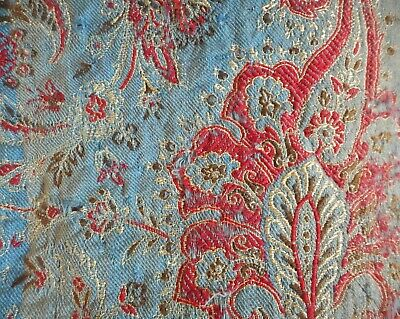 Stunning Antique 19thc French Woven Paisley Wool Fabric #2 ~ Indigo Blue Red ~