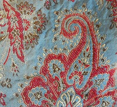 Stunning Antique 19thc French Woven Paisley Wool Fabric #3 ~ Indigo Blue Red ~