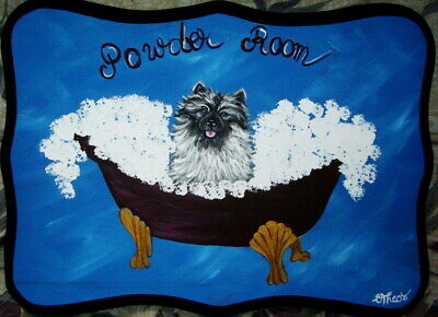 Keeshond Dog Powder Room Bathroom Sign Plaque Hand Painted