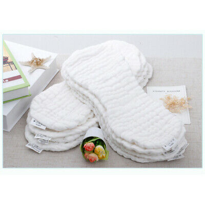 Reusable Newborn Nappy 10PCS Baby Cotton Cloth Diapers Inserts Liners 12 Layers