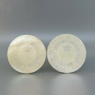 Pair of Early Chinese Engraving Mother of Pearl Gaming Chips or Counters, Great