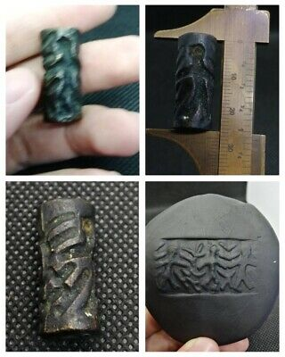 Wonderful near eastern ancient cylinder seal incredible intaglio Bronze