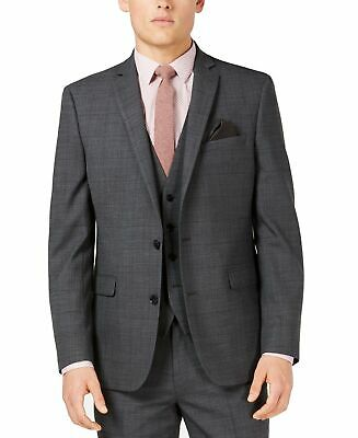 Bar III Mens Suit Jacket Gray Size 40R Two Button Slim Fit Windowpane $425 010