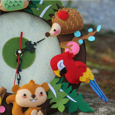 Cute Forest Animal Theme DIY Felt Material Handmade Cloth Clock Decoration-