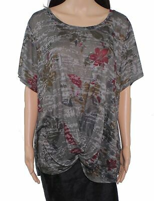 Style & Co. Womens Top Green Size 3X Plus Knit Twist-Front Printed $34 017