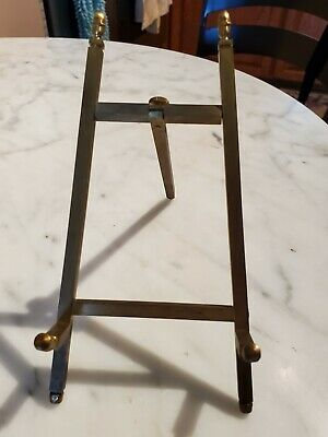 Vintage Solid Brass Table Top Picture Frame  Easel Stand