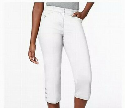 Karen Scott Womens Pants White 10P Petite Capris Tummy Control Stretch $39 222