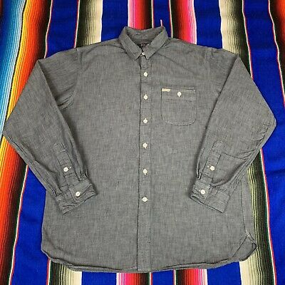 Polo Ralph Lauren Mens L Chambray L/S Triple Stitched Button Up Work Shirt EUC