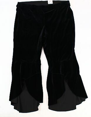 INC Womens Pants Black Size 18W Plus Velvet Flare Ruffle Leg Stretch $99 116