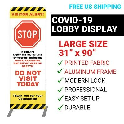 Building Visitor Pandemic Alert Sign - Commercial Covid Lobby Signage Display
