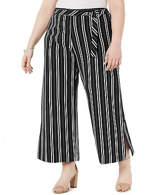 Ny Collection Womens Pants Black Size 1X Plus Striped Wide Leg Stretch $54 122