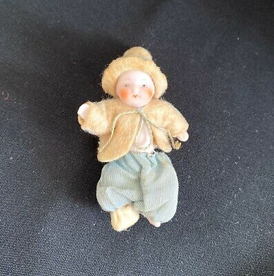 """German Antique Miniature 2 1/2"""" All Bisque Baby Bye Lo Style All Orig. Dollhouse"""