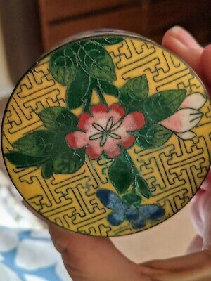 Chinese Cloisonne Enamel & Brass Round Trinket Box - pink flower hand painted.