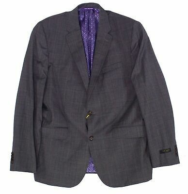 Ted Baker Mens Blazer Gray Size 44 Notch-Collar Two Button Wool $795- 976