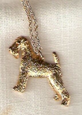 """Airedale Terrier Gold Plated Necklace Pendant 20"""" Chain Jewelry"""