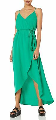 Jack By BB Dakota Womens Maxi Dress Green Size Small S Hi-Lo Faux-Wrap $78 974
