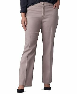 Lee Women's Pants Beige Size 14W Plus Mid-Rise Eased-Fit Stretch $60- 221