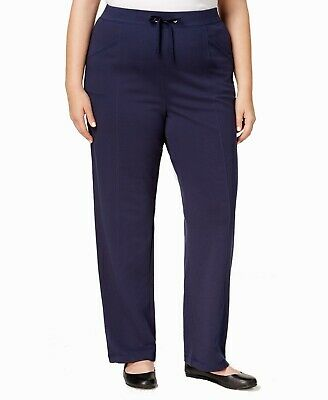 Karen Scott Women's Pants Blue Size 2X Plus French Terry Stretch $54- 166