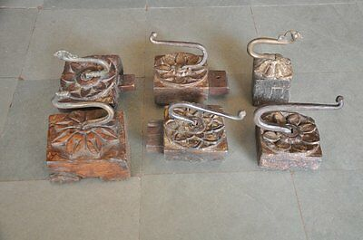 6 Pc Old Wooden & Iron Flower Engraved Handcrafted Unique Wall Hooks