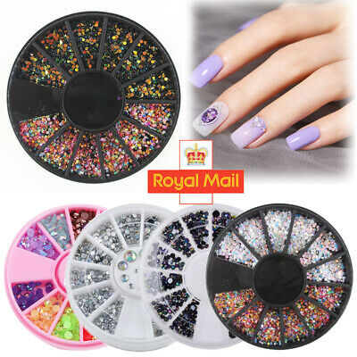 3D Nail Art Rhinestones Rose Gold Crystals Gems Beads Charms Pearl Glitter UK